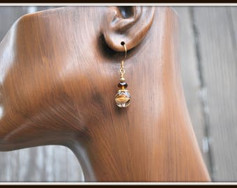 Brown Glass Earrings, Brown and White Earrings, Swirled Glass Earrings, Everyday Earrings