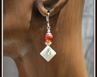 Coral Earrings, Pearl and Coral Earrings, Mother of Pearl Earrings, Beach Earrings