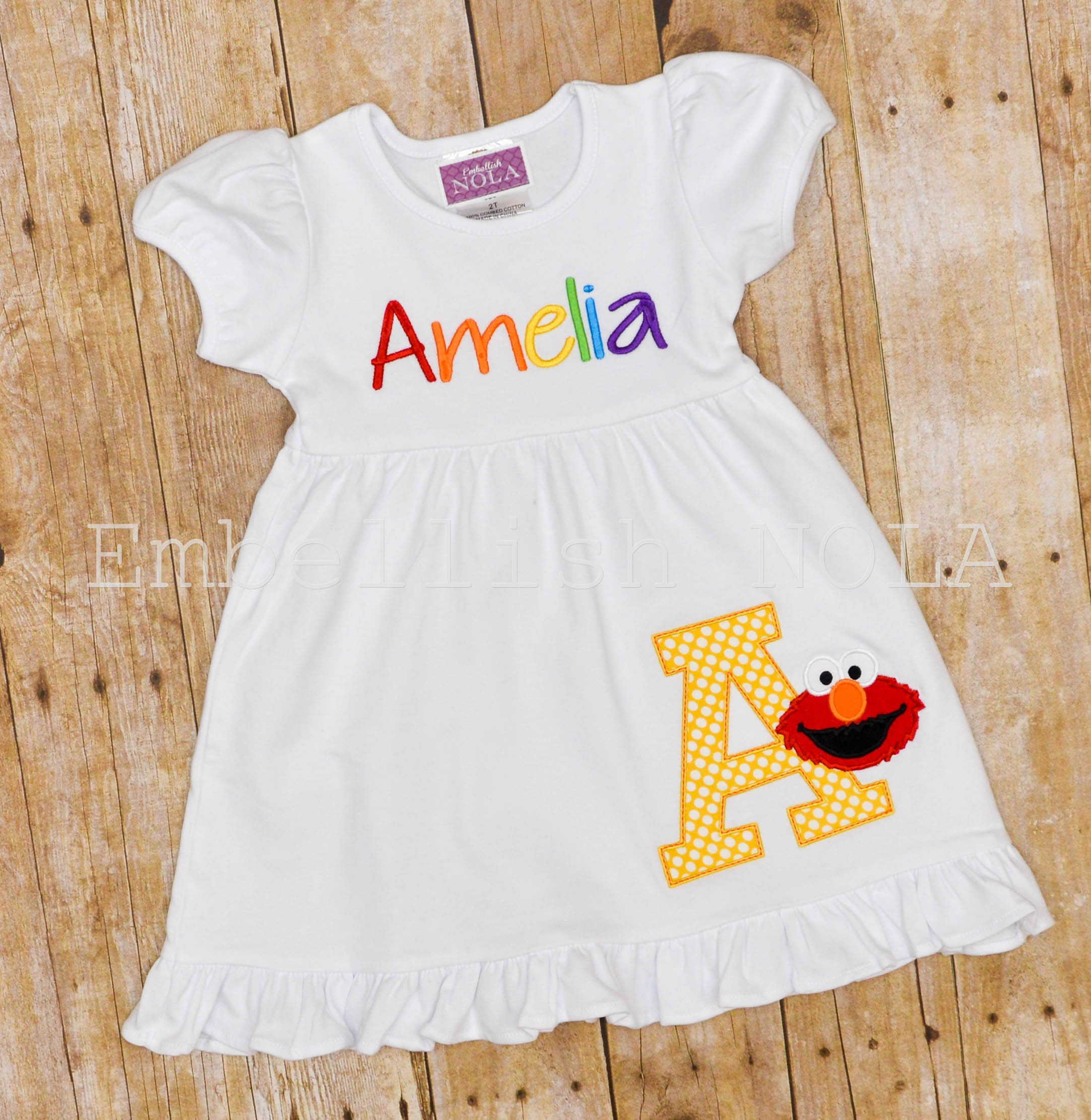 Elmo applique birthday knit ruffle dress elmo party dress elmo zoom bankloansurffo Gallery