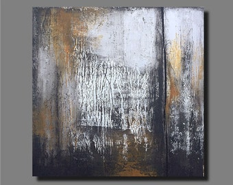 """Original Abstract Painting on Wood Panel, Wood Sculpture, Modern Wall Art, Contemporary Art, Black and White, Textured Painting, 24"""" X 24"""""""