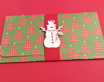 Christmas Money/Gift/Check Card Holder, Green, Red and Beige Checked Trees, White Star, Snowman, Red Band, Christmas Tree Inside, Handmade