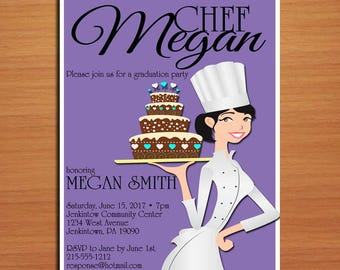 Culinary / Pastry Chef Degree Graduation Party Invitation Cards PRINTABLE DIY