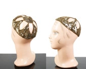 1920s Hat // Gold Sequin Cut Out Skull Cap