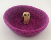 Felted wool bowl, felted wool container, wool basket, shades of purple