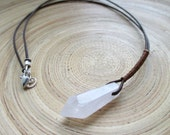 Jyn Erso Kyber crystal necklace Star Wars Rogue One inspired genuine quartz and leather necklace cosplay resistance resist