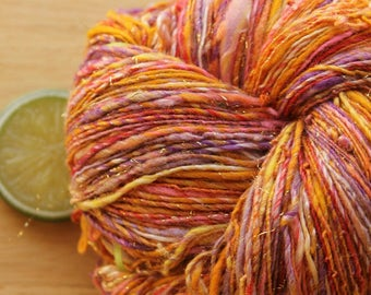 Bollywood Princess - Handspun Wool Yarn Sparkle Gold Sport Weight Skein