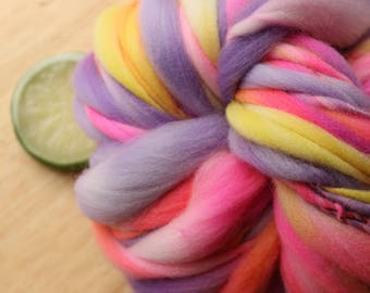 Fruity Drinks - Handspun Wool Yarn Pink Lavender Yellow Thick and Thin Skein