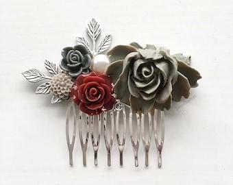 Gray Wedding Marsala Red Silver Hair Comb, Bridal Hair Slide, Hair Pin, Bride, Bridesmaids, Autumn, Grey, Cranberry, Burgundy, Wine Red