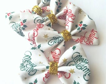 Gold glitter christmas hair bows- holiday hair bow -hair clips for baby toddler girls