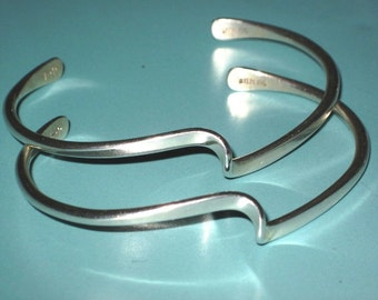 Sterling Silver 925 Signed Stack Stacking Cuff Bracelet Lot of 2
