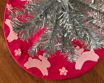 Tree Skirt Pink Felt Small Easter Tree Skirt Bunny Rabbit Holiday Tree Skirt Shabby Chic Decor Vintage Decor
