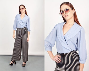 80s Bib Blouse Vintage Light Blue Collar Formal Top
