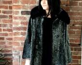 20 % OFF vintage Faux Fur Seal Coat Mid length Large Size Genuine Black Mink Collar Swing Stroller Silver gray Mohair blend