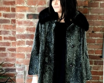 20 % OFF vintage Faux Fur Seal Coat Mid length Large Size Genuine Black Mink Collar Swing Stroller Silver gray Mohair blend