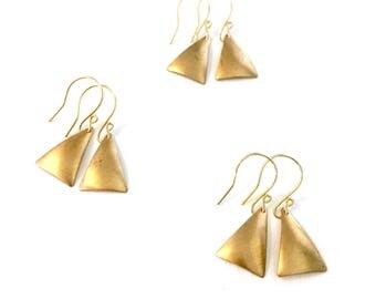 Brass Teardrop Earrings with Silver Accent - Simple, Basic, Lightweight, Neutral, Brown, Metal Jewelry