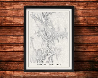 Zion National Park Topographic Map Art Print | Zion National Park Print | Zion National Park Artwork | Topographic Art