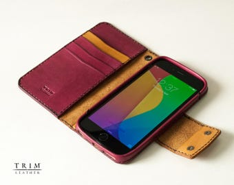 iPhone 7 iPhone 7 Plus iPhone 6s , iPhone 6s Plus Leather Wallet with Magnetic Snaps Buttons [Handmade] [Custom Colors]
