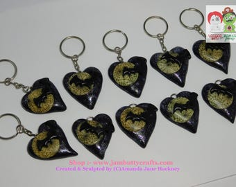 Bat and Moon Hearts. With glow in the dark moons. Key Chains. Polymer Clay. was 5.50 each now only 4.50 each