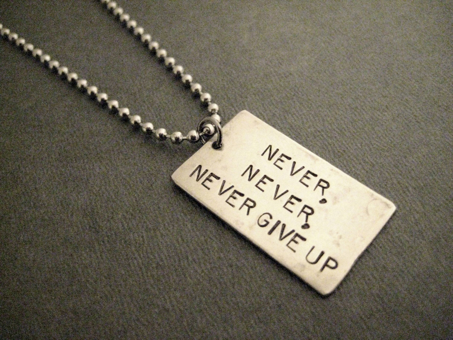 never never never give up necklace inspirational and