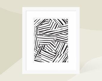 Large Minimalist Modern Art Print Black / Minimalist Modern Painting / Vertical Wall Art / Matted and Framed / 18x24 16x20 11x14 8x10 5x7