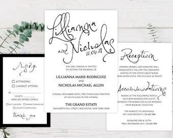 SAMPLE Wedding Invitation Suite - The Inkpen Wedding Invite Suite SAMPLE - Personalized Wedding Invitations - Full Wedding Suites