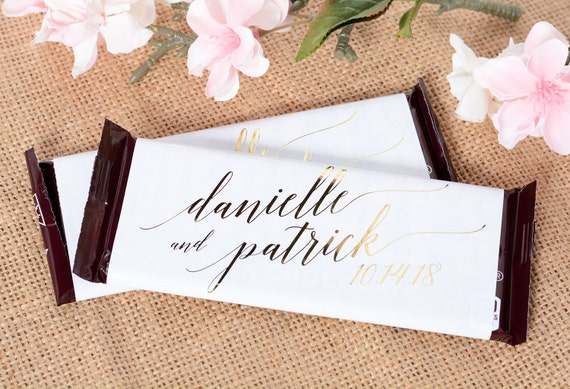 Wedding Candy Wrappers 25 Metallic Foil Chocolate Bar