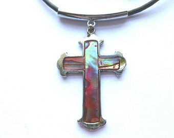 Vintage Abalone Shell Silver Cross, Abalone Cross Pendant, Rainbow Shell & Silvertone Cross with Black Neck Cord, Silver Cross Necklace