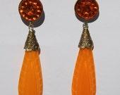 Circa 1920s/1930s Antique Art Nouveau / Art Deco Czech Glass Dangle / Drop Earrings - Bright Pumpkin Orange Drops - Burnt Orange Cabochons