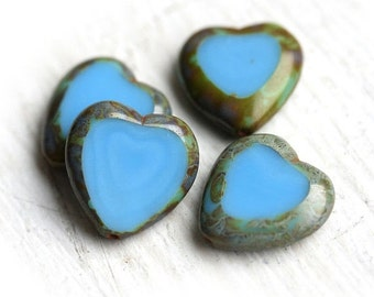 30%OFF SALE Heart Beads Turquoise blue, picasso finish, czech glass beads - 15mm - 4Pc - 0164
