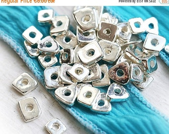 30%OFF SALE Silver spacers, Greek ceramic beads - metalized tiny spacers - approx.40pc - F068