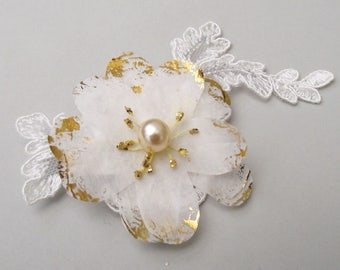 Ivory and Gold Silk Anemone Hair Clip - flower hairclip, bridesmaid hair accessories