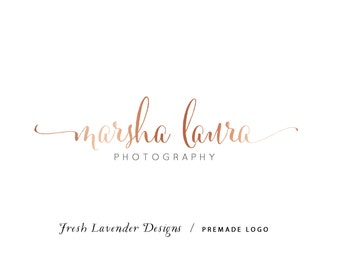 Custom Logo Design Premade Logo and Watermark for Photographers and Small Crafty Businesses Classic Name Only Script Logo with Rose Gold