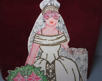 Gorgeous unused 1910's-1920's P.F. Volland die cut gold gilded place card bridge tally elaborately dressed bride arts and crafts bouquet