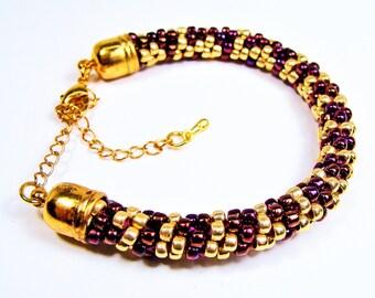 Wine and Gold Handmade Beaded Kumihimo Bracelet