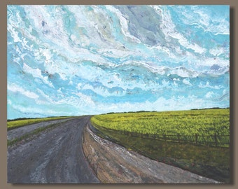 FREE SHIP abstract painting, road painting, canola fields, Alberta Canada, landscape painting, green yellow, clouds, modern art, prairie