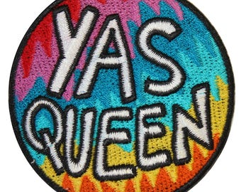 Yas Queen Iron On Patch Embroidery Sewing DIY Customise Denim Broad City Inspired Rainbow Queer LGBTQ Trans Gay Pride Sassy Tumblr