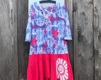 Bohemian dress L-XL, low waisted dress, casual dress, artsy clothing