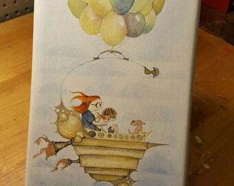 Run Away, balloons, kids room decor, whimsical art, watercolor art, awesome fucking art