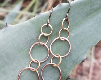 Brass and copper earrings, Geometric earrings, circle earrings, mixed metal earrings, dangle earrings