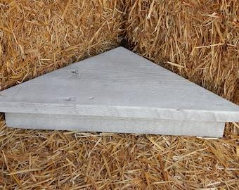 Barnwood corner shelf, barnwood shelf, corner shelf, weathered white corner shelf
