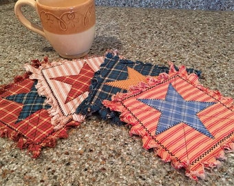 Quilted Mug Rugs / Trivets / Coasters - Set of 4 - Ready to Ship - Americana, Rustic, Country, Western
