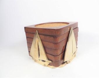 Vintage Wood Coasters on Brass Sailboat Rack - Set of 6 Wood Cork Coasters Brass Sailboats
