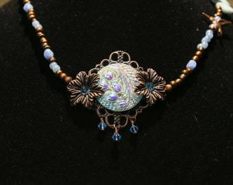 Victorian Inspired Czech Glass Button Pendant on Czech Glass Beaded Necklace
