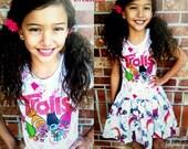 Girls TROLLS Dress, Girls Dress,  Poppy, DJ Suki, Branch, Trolls, Trolls Dress, Trolls T-Shirt Dress - 4 Left  XS 4/5 S 6/6X