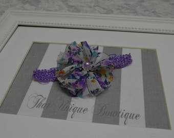 Last One SALE... Baby Girl Headband...Ballerina Flower Headband...Newborn Headband...Vintage...Infant Headband...Headband...Purple