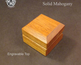 Solid Mahogany engagement ring box with free shipping and engraving.  RB98