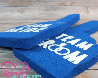 Photobooth Props | Royal Blue with White Lettering Team Bride & Team Groom Foam Fingers | Wedding | Bachelor Party | Bridal Shower