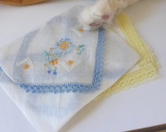Vintage Pair handkerchiefs Blue Yellow lace trimmed embroidery delicate hanky new never used NOS