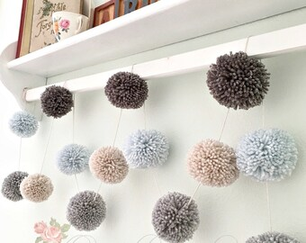 Pom Pom Yarn Garland Arctic Blue - Medium Gray - Dark Gray - Linen - Wall Decor - Nursery - Wedding - Party Decoration  Yarn Pom Poms 6 Ft.