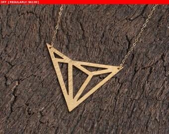 SALE!!! Art Deco Necklace , Gold Geometric Pendant , Triangles Jewelry , Geometric Pendant , Geometric Necklace ,Triangle Necklace ,Art D...